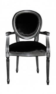 Casa Padrino Barock Esszimmer Stuhl mit Armlehne Schwarz / Silber - Designer Stuhl - Luxus Qualität