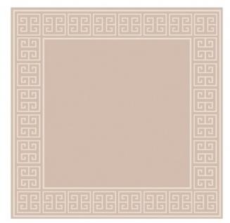 Wunderschöner Luxus Teppich aus 100% Neuseeland-Wolle mit Mäander Muster, Beige, Samtweich 300 x 300 cm - Hochwertige Qualität