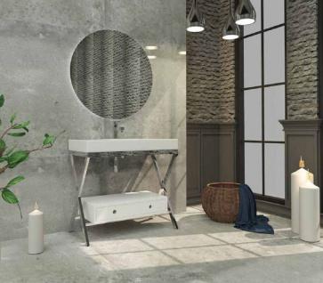 Casa Padrino Luxus Badezimmer Set Silber / Weiß - 1 Waschtisch mit Schublade und 1 Waschbecken und 1 LED Wandspiegel - Luxus Qualität - Vorschau 2