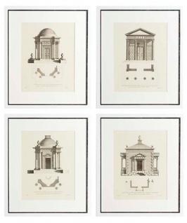 Casa Padrino Luxus Bilder / Kunstdruck 4er Set Architektur Weiß 55 x H. 65 cm - Wohnzimmer Dekoration