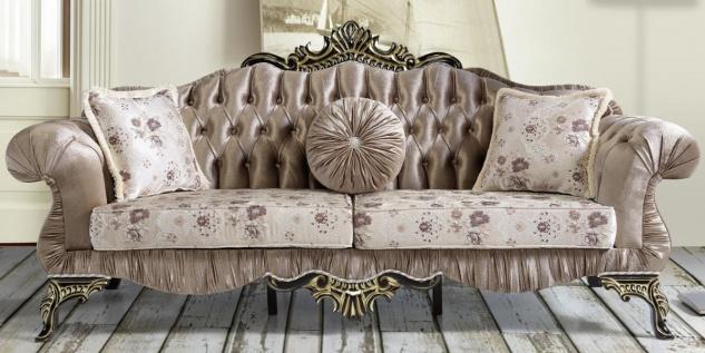 Casa Padrino Barock Sofa Braun / Beige / Schwarz / Gold 227 x 81 x H. 110 cm - Prunkvolles Wohnzimmer Sofa mit Blumenmuster - Barockstil Möbel
