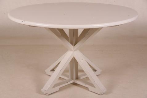 Casa Padrino Vintage Teak Esstisch Antik Stil Weiß Rund Durchmesser 130 cm - Landhaus Stil Tisch Teakholz