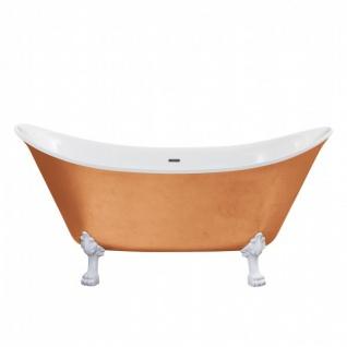 Casa Padrino Jugendstil Badewanne freistehend Kupfereffekt Modell He-Lyd 1730mm - Freistehende Retro Antik Badewanne Barock Stil