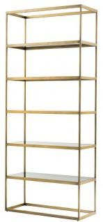 Casa Padrino Luxus Regalschrank Messing / Grau 95 x 40 x H. 225 cm - Edelstahl Schrank mit 5 Glasregalen - Büromöbel - Wohnzimmermöbel