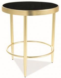 Casa Padrino Designer Beistelltisch Mattgold / Schwarz Ø 42 x H. 48 cm - Runder Tisch mit Glasplatte - Wohnzimmer Möbel