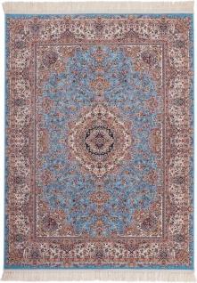 Casa Padrino Luxus Wohnzimmer Teppich Blau - Verschiedene Größen - Gemusterter Teppich mit Fransen - Luxus Kollektion