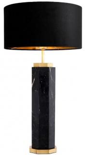 Casa Padrino Luxus Tischleuchte Schwarz / Antik Messing Ø 40 x H. 72, 5 cm - Moderne Marmor Tischlampe mit rundem Lampenschirm - Luxus Qualität
