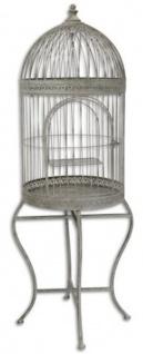 Casa Padrino Jugendstil Vogelkäfig mit Ständer Grau 45 x 45 x H. 120, 5 cm - Barock & Jugendstil Accessoires