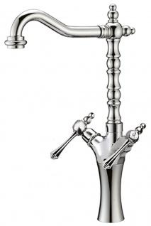 Jugendstil Retro Waschtisch Armatur Silber H. 47, 5 cm - Waschbecken Armatur Made in Italy
