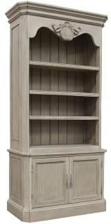 Casa Padrino Luxus Landhausstil Bücherschrank Grau 110 x 47 x H. 240 cm - Handgefertigter Massivholz Schrank mit 2 Türen - Regalschrank - Edle Landhausstil Massivholz Möbel