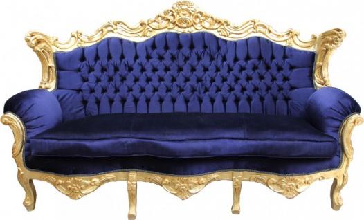 Casa Padrino Barock Sofa Master Royal Blau / Gold - Wohnzimmer Möbel Couch Lounge