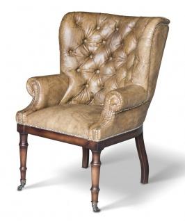 Casa Padrino Chesterfield Echtleder Sessel Vintage Leder mit Rollen - Luxus Wohnzimmer Ohrensessel Möbel Büffelleder Sessel