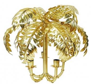 Casa Padrino Designer Hängeleuchte Palme Antik Messing 63 x 63 x H. 57 cm - Edelstahl Pendelleuchte - Wohnzimmer Lampe