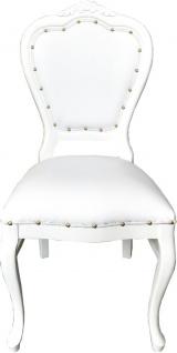 Casa Padrino Luxus Barock Esszimmer Set Weiß / Weiß 45 x 47 x H. 99 cm - 6 handgefertigte Esszimmerstühle mit Kunstleder - Barock Esszimmermöbel - Vorschau 2