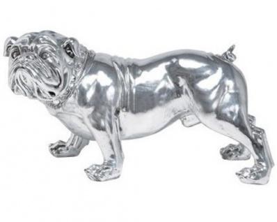 Casa Padrino Designer Luxus Bulldogge aus poliertem Aluminium, Silber, H 26 cm, B 41 cm, T 15 cm - Massive Skulptur - Edel & Prunkvoll