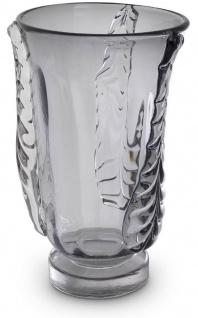 Casa Padrino Luxus Deko Glas Vase Grau Ø 26 x H. 42 cm - Elegante mundgeblasene Blumenvase - Deko Accessoires