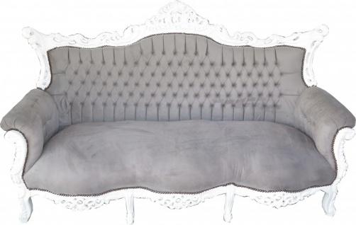 Casa Padrino Barock 3er Sofa Master Grau / Weiß - Wohnzimmer Möbel Couch Lounge