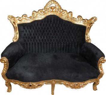 Casa Padrino Barock 2er Sofa Master Schwarz / Gold - Antik Stil Möbel