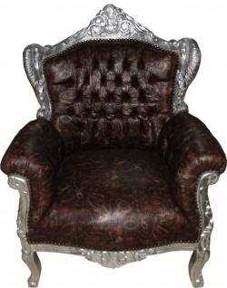 Casa Padrino Barock Sessel Lord Braun/Silber Lederoptik mit Drachenmotiv - Antik Stil