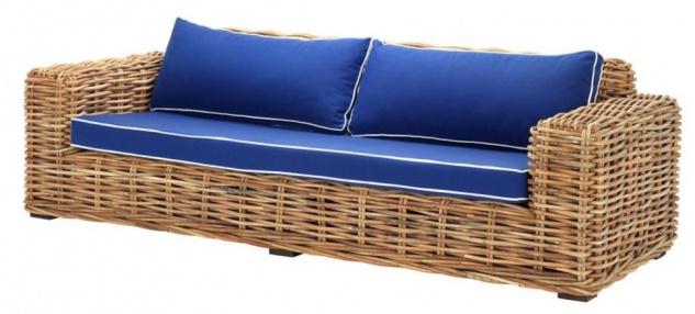 Casa Padrino Designer Rattan Sofa 230 x 88 x H. 69 cm - Luxus Wohnzimmer Möbel