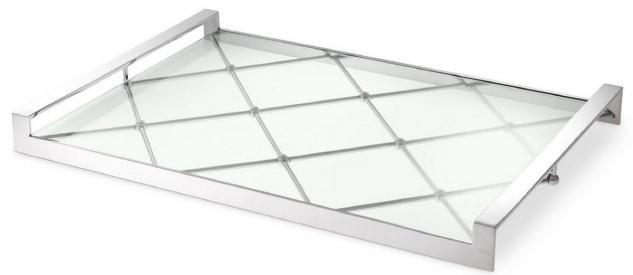 Casa Padrino Luxus Serviertablett Silber 48 x 34 x H. 4 cm - Edelstahl Tablett mit gehärteter Glasplatte - Gastronomie Accessoires - Luxus Qualität