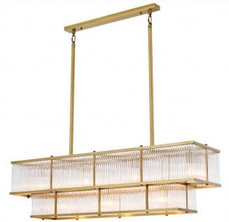 Casa Padrino Luxus Kronleuchter Antik Messingfarben 120 x 32, 5 x H. 34 cm - Rechteckiger Kronleuchter - Luxus Qualität