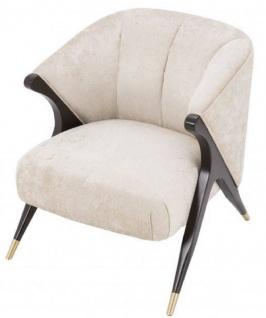 Casa Padrino Designer Sessel Cremefarben / Schwarz / Messingfarben 71, 5 x 79, 5 x H. 77 cm - Luxus Möbel - Vorschau 5