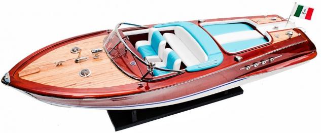 Casa Padrino Luxus Speedboot Riva Aquarama mit Massivholz Ständer Braun / Weiß / Blau 87 x 25 x H. 26 cm - Handgefertigtes Deko Holzboot Modellboot Boot - Deko Accessoires