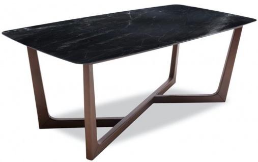 Casa Padrino Luxus Esstisch Schwarz / Braun 200 x 100 x H. 77 cm - Küchentisch mit edler Glaskeramik Tischplatte in Marmoroptik und massiven Buchenholz Beinen - Luxus Esszimmer Möbel