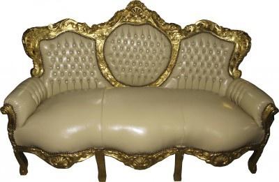 Barock Sofa Garnitur Master Creme Lederoptik / Gold mit Bling Bling Steinen