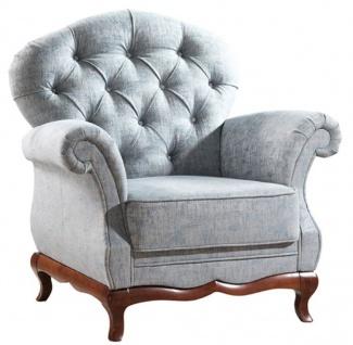 Casa Padrino Luxus Art Deco Chesterfield Wohnzimmer Sessel Vintage Blau / Dunkelbraun 99 x 90 x H. 98 cm - Wohnzimmermöbel