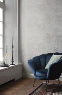 Casa Padrino Luxus Papiertapete Weltkugeln Creme - 10, 05 x 0, 53 m - Edle Mustertapete - Vorschau 2