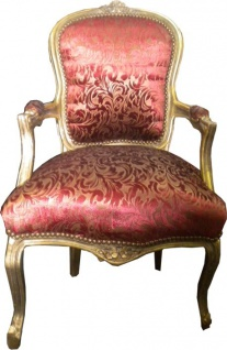 Barock Salon Stuhl Bordeaux Muster / Gold