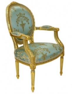Casa Padrino Luxus Barock Medaillon Salon Stuhl Türkis Muster / Gold Modell Versailles - Möbel Antik Stil - Vorschau 2