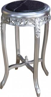 Casa Padrino Barock Beistelltisch mit Marmorplatte Rund Silber/Schwarz 72 x 39 cm Antik Stil