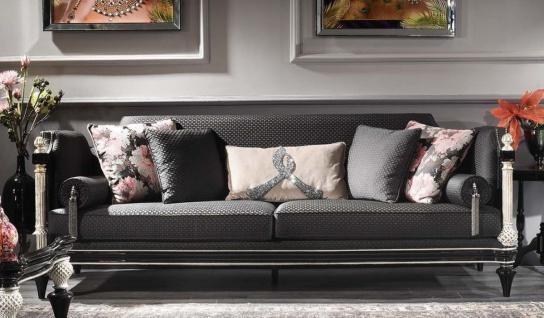 Casa Padrino Luxus Barock Sofa Schwarz / Grau / Silber / Antik Gold 250 x 95 x H. 80 cm - Prunkvolles Wohnzimmer Sofa im Barockstil