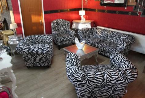 Casa Padrino Designer Chesterfield Wohnzimmer Garnitur - Sofa + 3 Sessel Zebra - Luxus Barock Möbel - Vorschau 2