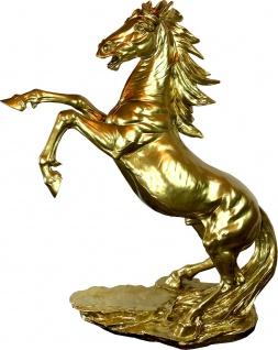 Casa Padrino Designer Dekofigur Wildes Pferd Gold H. 92 cm - Wetterbeständige Deko Skulptur - Wohnzimmer Deko - Garten Deko - Designer Deko Tierfigur
