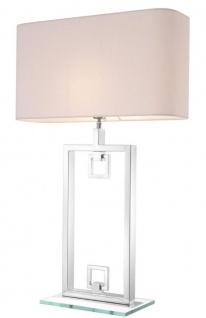 Casa Padrino Tischleuchte Silber / Weiß 55 x 25 x H. 88 cm - Luxus Tischlampe mit Lampenschirm