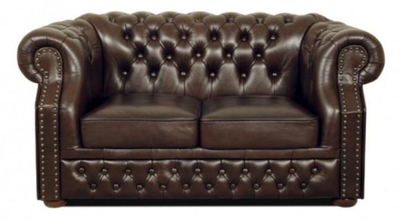 Casa Padrino Echtleder 2er Sofa Dunkelbraun 160 x 90 x H. 80 cm - Luxus Chesterfield Möbel