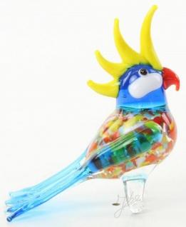 Casa Padrino Glasfigur Kakadu Papagei Vogel - bunte Dekofigur aus Glas - Figur Skulptur Deko Dekoration Geschenk