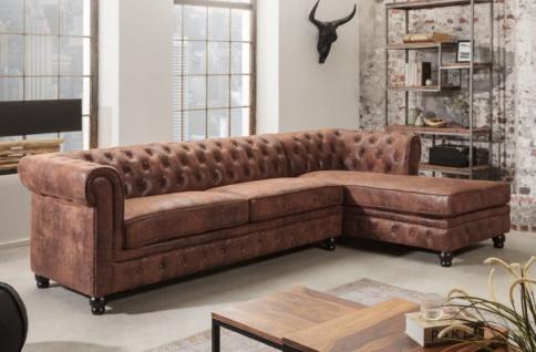 Casa Padrino Chesterfield Ecksofa Rechts Antik Braun - Microfaser Wohnzimmer Sofa - Chesterfield Wohnzimmer Möbel