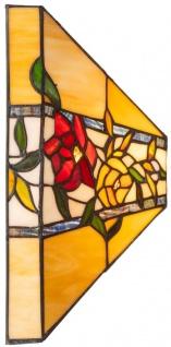 Casa Padrino Luxus Tiffany Wandleuchte Mehrfarbig 40 x 40 x H. 15 cm - Tiffany Lampe mit Blumendesign und handgefertigtem Glas Lampenschirm