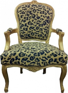 Barock Salon Stuhl Leopard Muster 2 / Gold
