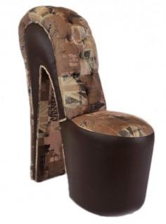 Moderner und sehr eleganter Casa Padrino High Heel Sessel mit Dekosteinen Union Jack London Design / Braun - Designer Sessel - Club Möbel - Vorschau 2