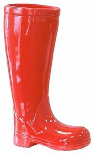 Casa Padrino Designer Keramik Schirmständer Stiefel Rot H. 45 cm - Edel & Prunkvoll