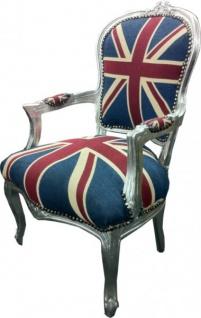 Casa Padrino Barock Salon Stuhl Union Jack Design / Silber - Vorschau 2