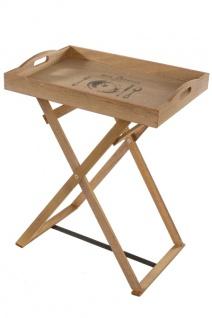 Casa Padrino Designer Beistelltisch mit abnehmbaren Tablett - Servier Tisch - Bar Tisch - Holztablett - Hand gefertigt