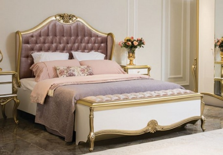 Casa Padrino Luxus Barock Doppelbett Lila / Rosa / Weiß / Gold 170 x 207 x H. 168 cm - Edles Massivholz Bett mit Kopfteil - Prunkvolle Schlafzimmer Möbel im Barockstil