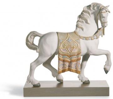 Casa Padrino Luxus Porzellan Königliches Ross Mattweiß / Mehrfarbig 40 x H. 42 cm - Handgefertigtes Luxus Deko Pferd - Vorschau